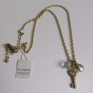 Lia Sophia Gold Tone Key Tear Drop Necklace